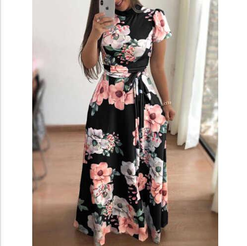 d82c05910971e2e Женские летние Boho Цветочные Длинные Макси платье для вечеринки пляжный  сарафан с коротким рукавом красивое платье