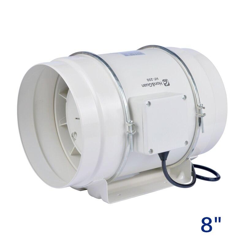 8 pouces ventilateur en ligne booster tuyau de ventilation en plastique échappement ventilateur de plafond 220 V flux mixte ventilateur de conduit en ligne ventilateur turbo 200mm