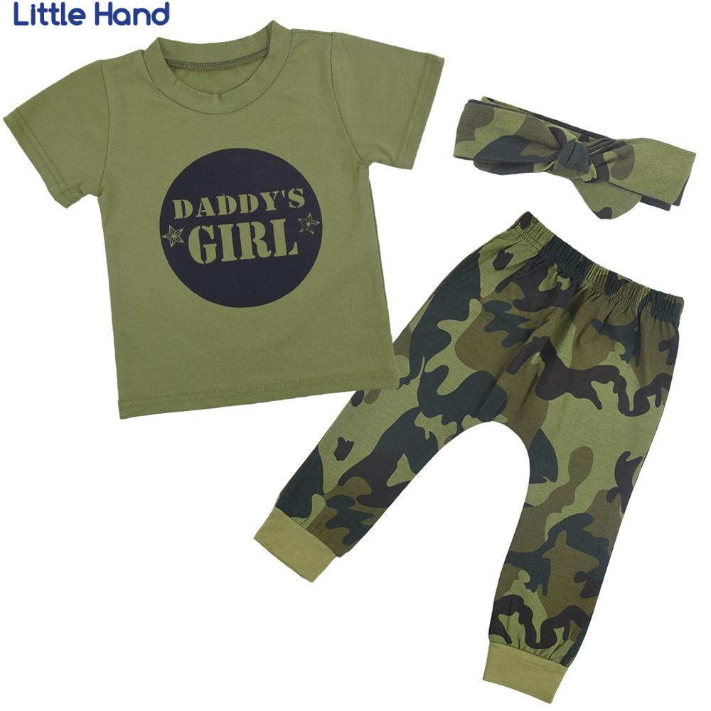 Baby 3PCs Long Sleeve T shirt + Pants+ Hat+Headband Cotton Suit Camouflage Boys&Girls Clothes Sets 2018 Spring Summer Clothing