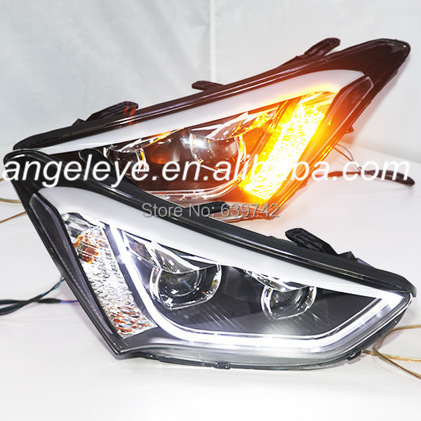 For Hyundai 2013 to 2014 Year New Santa Fe ix45 LED Strip Head Light with Bi Xenon Projector Lens TLZ for chevrolet cruze tuning bi xenon projector lens head lights with led turn light 2015 year new arrival