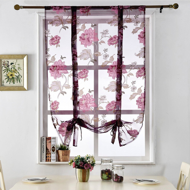 gedrukt bloemen korte gordijnen keuken romeinse venster voile gordijnen voor woonkamer slaapkamer deur louvre raam jaloezien