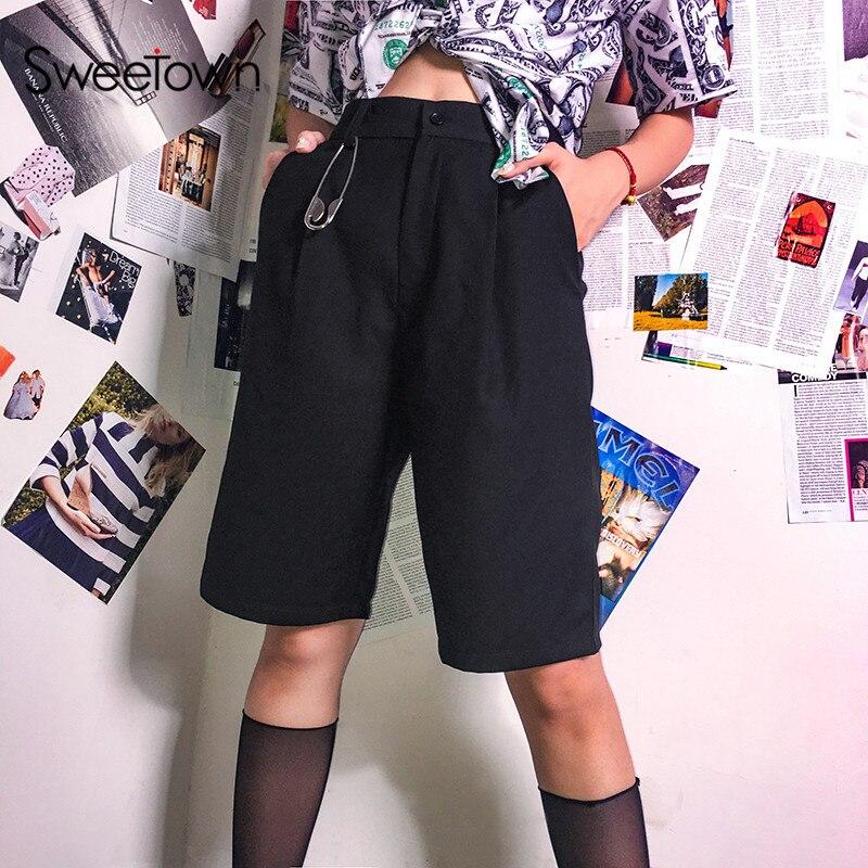 Sweetown Black Solid High Waist   Shorts   Women England Street Style Straight   Short   Feminino Casual Loose Hot Summer   Shorts
