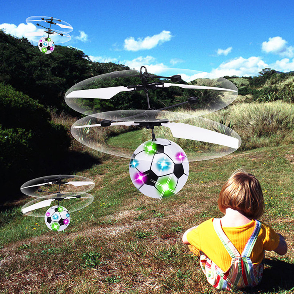 Flying Mini RC Infraed Induction Helicopter Football Flashing Light Toys For Kid Education Toy Baby Toys & Games Children