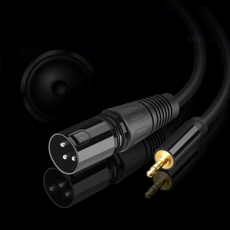 3.5 Jack XLR Cable Karaoke Microphone Speaker Sound Cannon Audio Cable XLR Extension Male to Male Stereo TRS for Amplifier Mixer