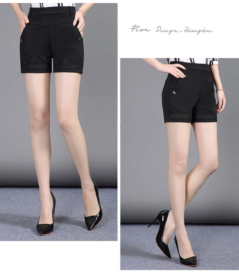 Women Summer Shorts Black Elastic Band Waist Short Pants Woman Casual Pantalones Cortos Mujer Slim Fit Shorts 4XL 3XL 2XL (12)