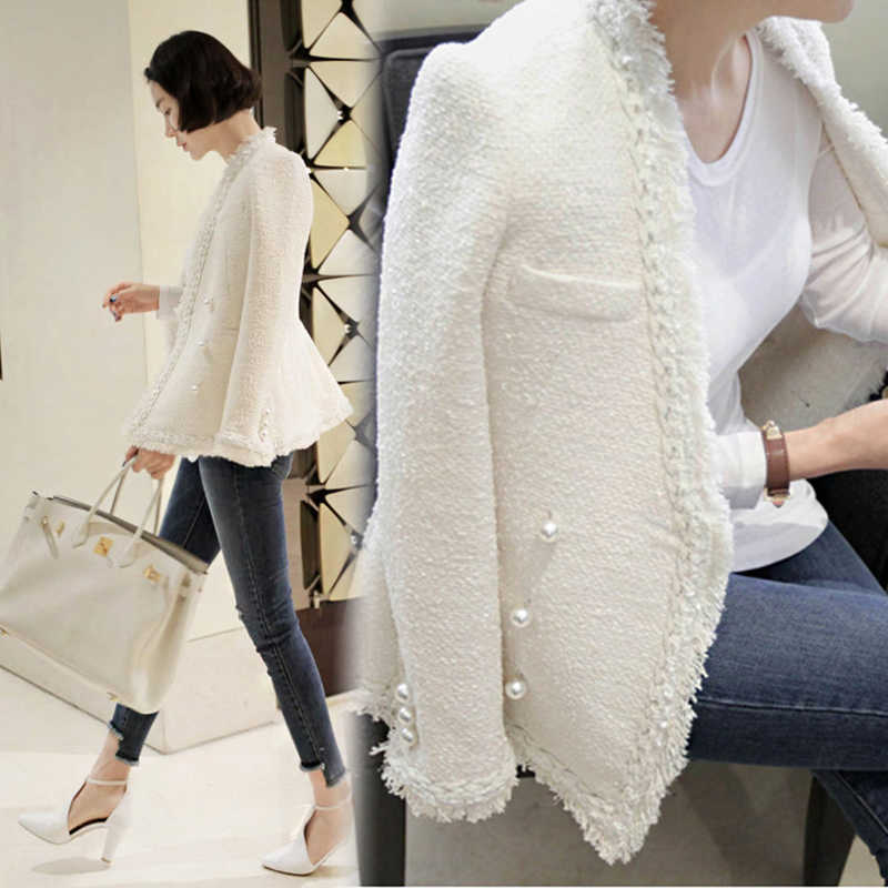 Zarachiel 2019 Brand Lady Winter Pearls Tassels Woolen Jacket Coat Women Vintage Casaco Femme Warm Tweed Jacket Elegant Overcoat