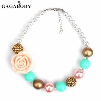 4349815df6a3 Bastante rosa las niñas collar de perlas de joyería para niños collar  chicle mejor regalo