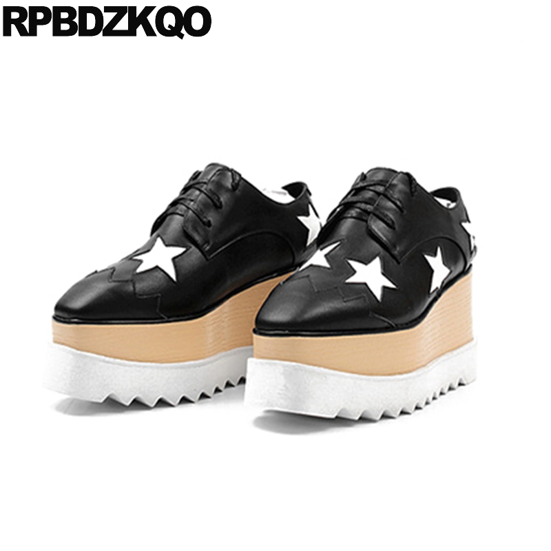 Women Muffin Black And White Luxury Lace Up Creepers Platform Shoes Square Toe Elevator Genuine Leather Star Flats Patent Drop lovexss patent leather derby shoes square toe lace up black white woman flats black white square toe genuine leather derby shoes