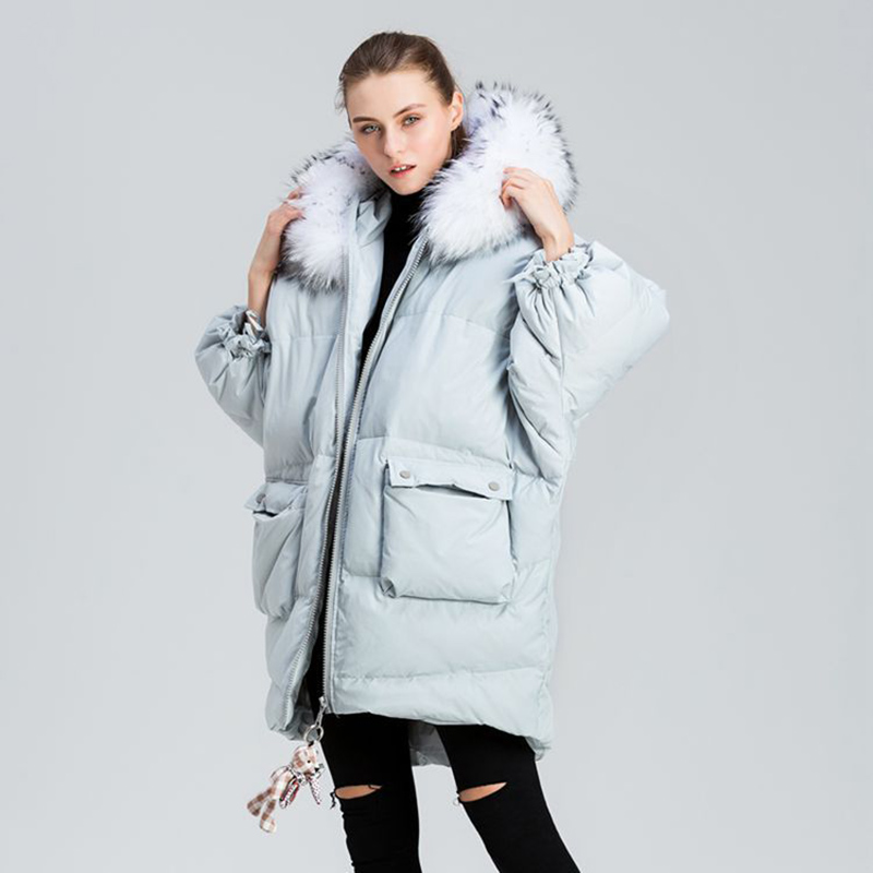 Oversized Winter   Down   Jacket Women Real Large Raccoon Fur Collar Hooded Long   Down     Coat   2019 Fashion Muppet Zipper Winter Jacket