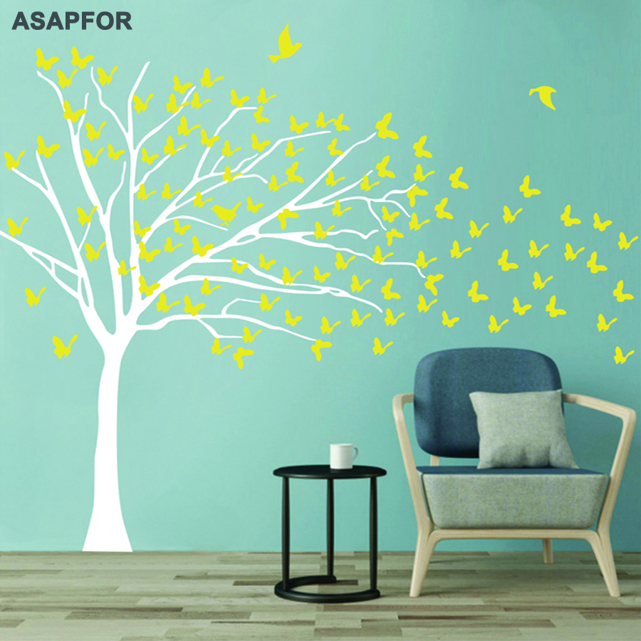 Huge White Tree and Birds Stickers Butterflies on the Wall Decals Decoration for Living Room Landscape Nursery Bedroom Wall Art Pictures