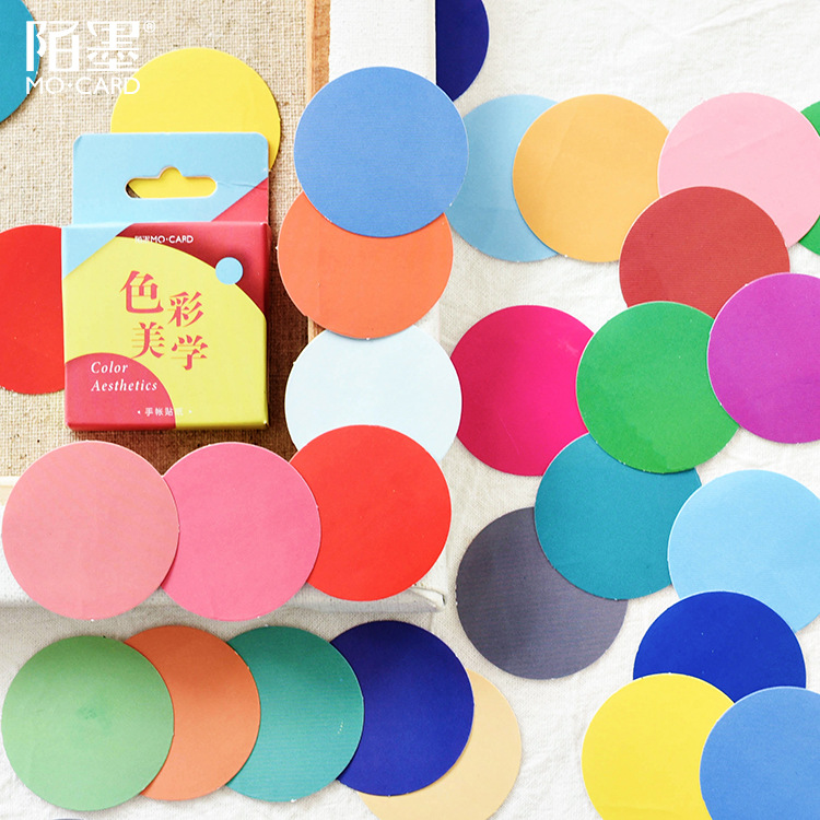 Color Aesthetics Decoration Adhesive Stickers Diy Solid Color Round Stickers Diary Sticker Scrapbook Kawaii Stationery Stickers