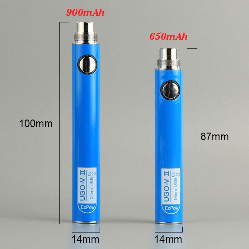 100% Original UGO VII 650 900 mAhEVOD eGo T510 Thread Vape Pen Battery Micro USB Passthrough Vape batteries &  e cigs vaporizers