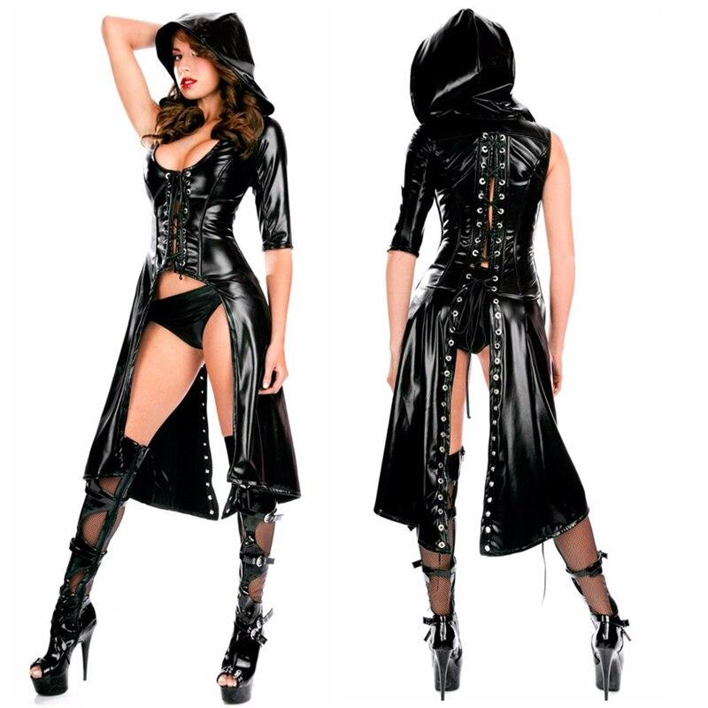aaa6e90463ab Mujer Sexy negro de imitación de cuero con capucha de encaje gótico Catsuit  Wetlook Jumpsuit Lencería erótica body largo Club wear overoles