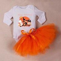 2017 yeni bebek kız cadılar bayramı orange kabak bodysuit + etek kıyafet seti uzun kollu yenidoğan giysileri set yürüyor bebek giyim