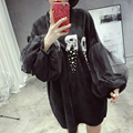 [Soonyour] 2017 roupa nova outono produto fios de manga longa carta pullover casaco com capuz de cor branco preto dress mulher ls0831