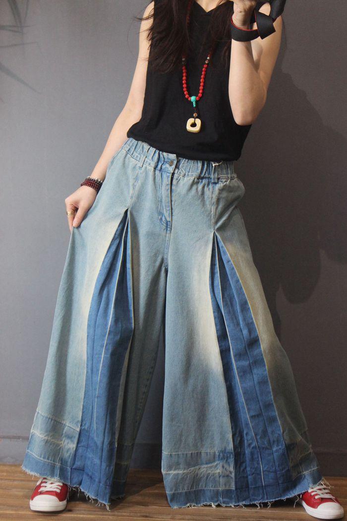 Vintage Las Y Plus Pierna Casual Elástica Tamaño Cintura Otoño Primavera Pantalones Ancha Denim Mujeres De nU8qwtFSxS