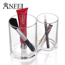 Doppel Klare Acrylzylinder Kosmetische Halter Frauen Makeup Tools Aufbewahrungsbox Neue Design Augenbrauenstift Organizer Großhandel Preis