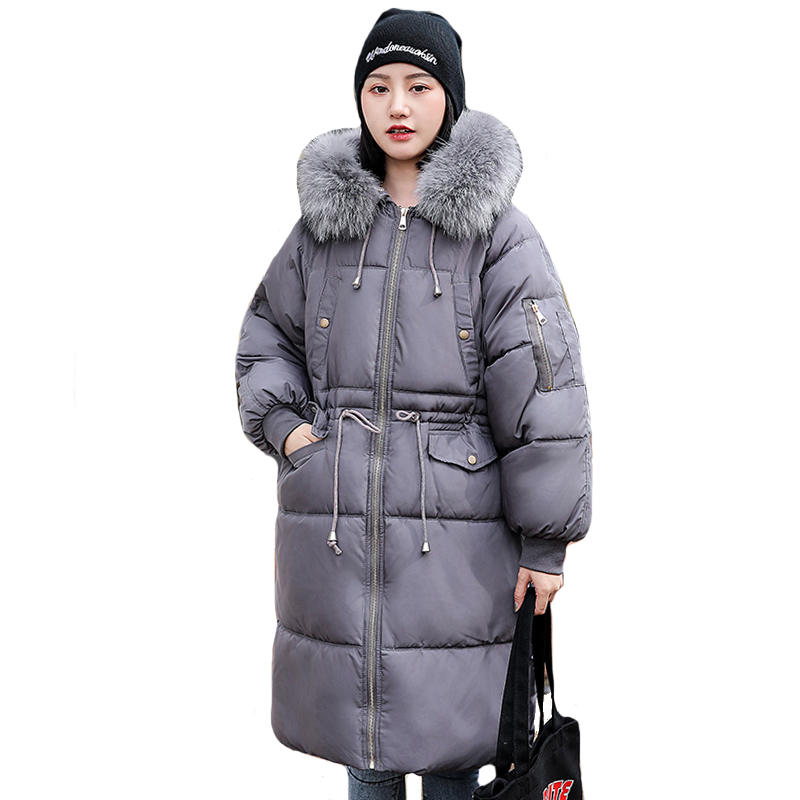 2019 New Arrival Women Winter Jacket Oversized With Fur Hooded Fashion Female Coat Long Warm Thicken