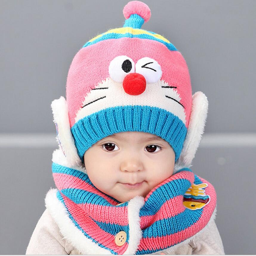 2 piece set winter robot hat scarf set for child winter baby thicker warm ear protection hat. Black Bedroom Furniture Sets. Home Design Ideas