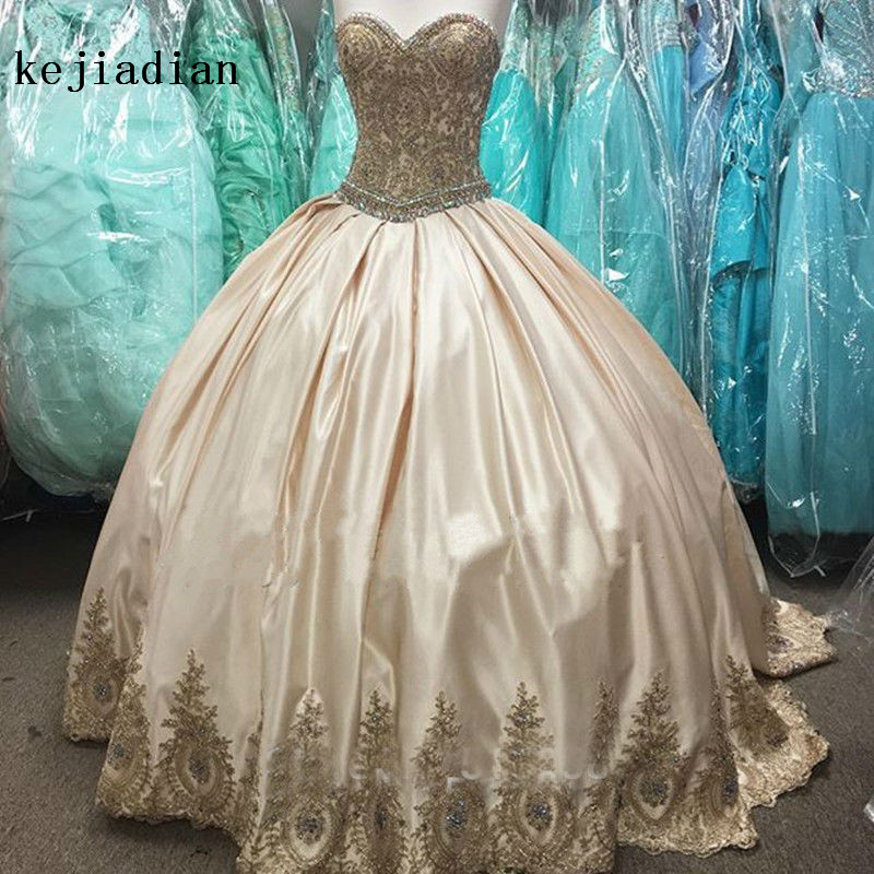 Gold Appliques Beaded Sweetheart Taffeta Ball Gown Wedding