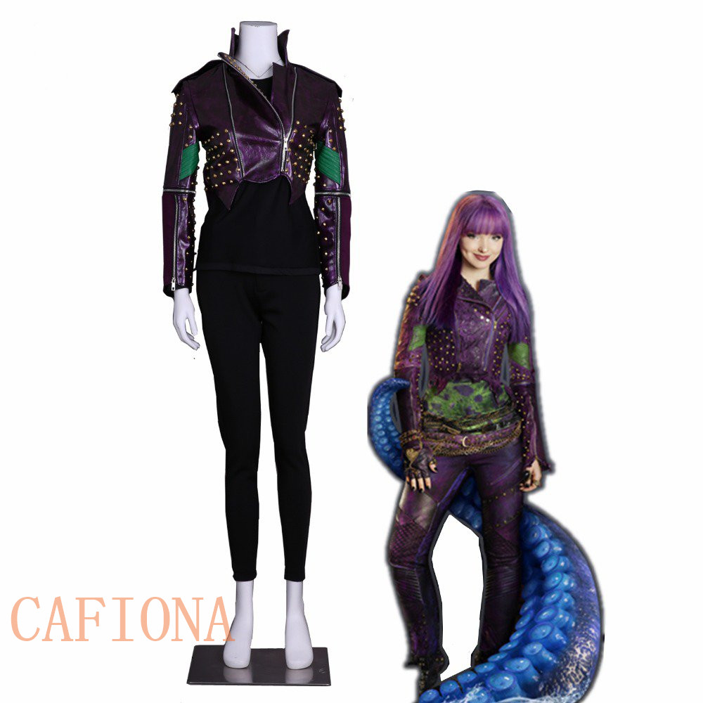 Cafiona Descendants 2 Cosplay Mal Cosplay Costume Purple Leather Coat Punk Style Rivet Jacket Custom Made Size Party Top