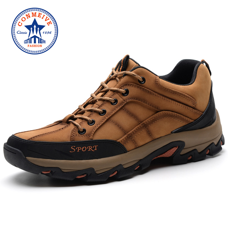 Sale Autumn Winter Hiking Shoes Genuine Leather Outdoor Trekking Men Boots Lace-up Climbing Mens Hunting Sneakers Male Walking aqua two outdoor camping men sports hiking shoes genuine leather boots walking sneakers wear resistance lace up shoes es 101022