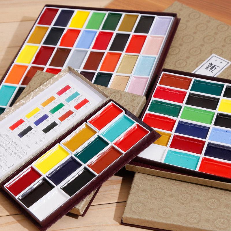 KISSHO GANS 8/12/18/24/35/48/60/72 Water Color Sumi-e Pigment Set