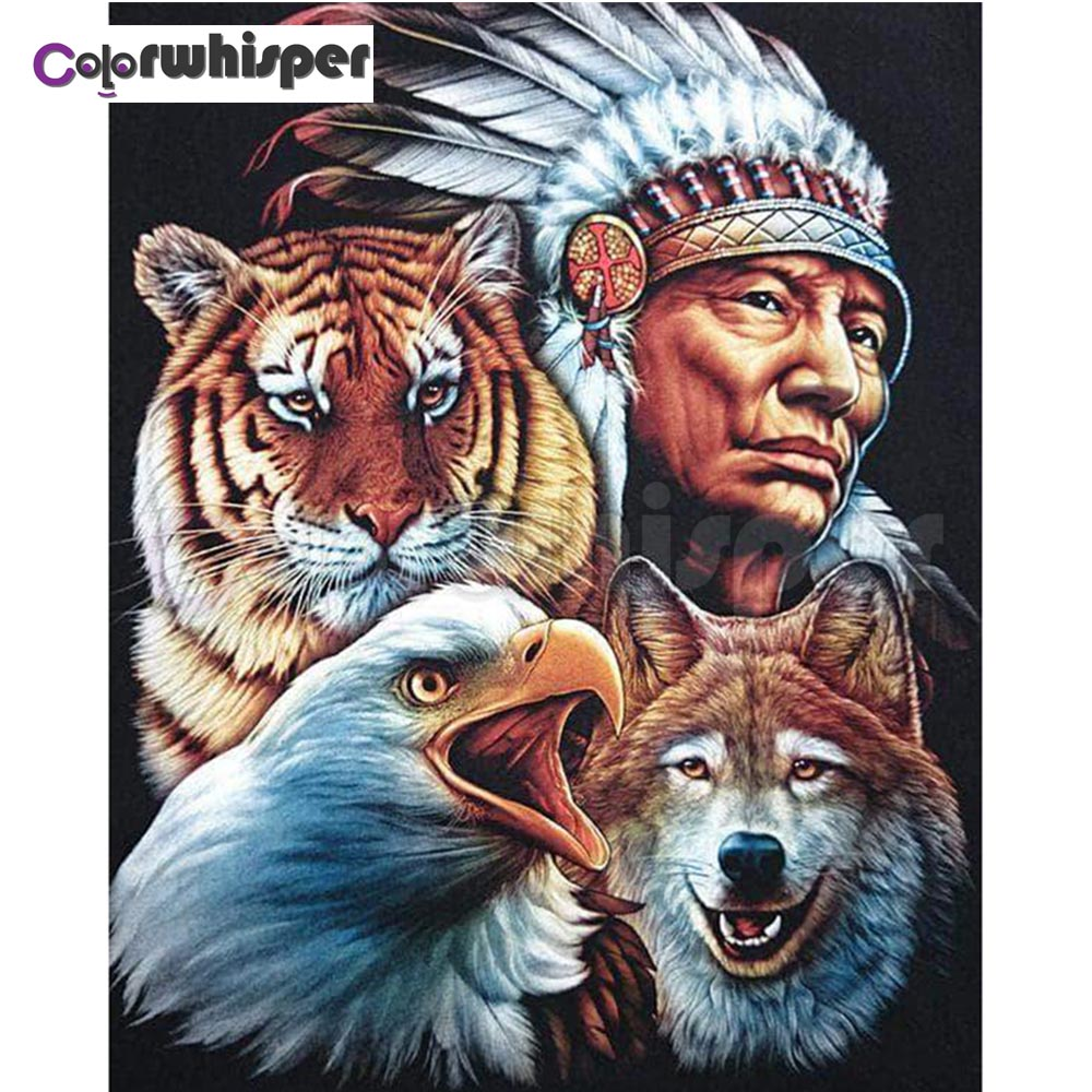 Diamond Painting Full Square/Round Drill Indian Wolf Eagle Tiger 3D Daimond Painting Embroidery Mosaic Cross Stitch Crystal Z187Diamond Painting Full Square/Round Drill Indian Wolf Eagle Tiger 3D Daimond Painting Embroidery Mosaic Cross Stitch Crystal Z187