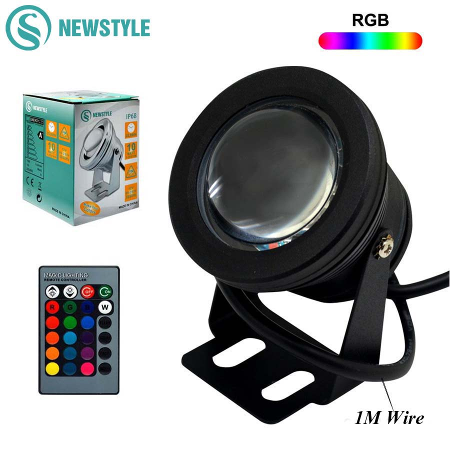 DC12V 10W RGB/RGBWW LED Underwater Light IP68 Waterproof Swimming Pool Lights Changeable 16 Colors+24keys LED Controller