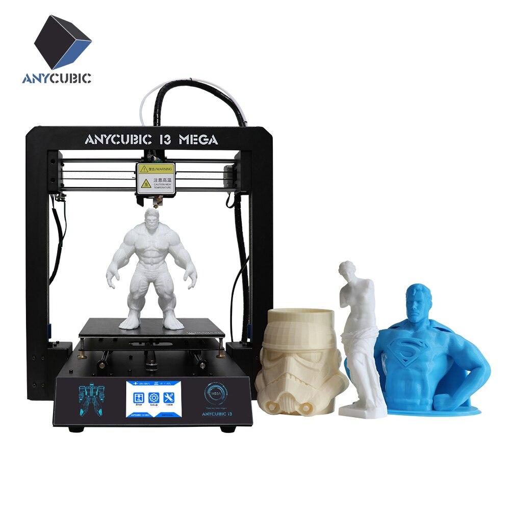 Anycubic 3D-принтеры i3 Мега impresora 3D DIY Kit металлический широкоформатной печати Размеры Сенсорный экран ЖК-дисплей 1 кг нити 8 г sd карты в качестве подарка