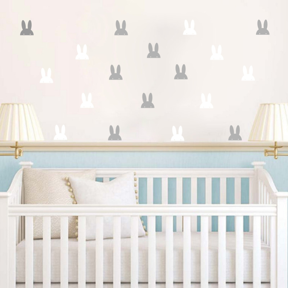 Pet Bunny Ears Wall Sticker DIY Cartoon Rabbit Wall Decals for Nusery Kids Room Decoration