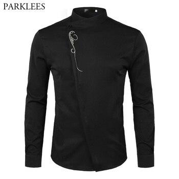 Diseño de botones oblicuos con personalidad, camisa de vestir para hombre 2018, camisa de manga larga bordada a la moda, camisas sociales informales ajustadas para hombre