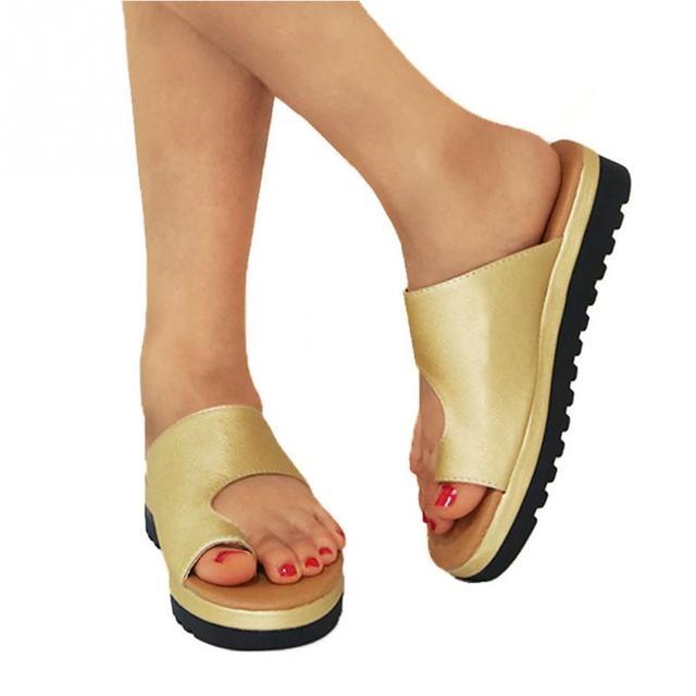 Women PU Leather Shoes Comfy Platform Flat Sole Ladies Casual Soft Big Toe Foot Correction Sandal Orthopedic Bunion Corrector