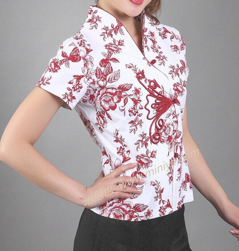 Новое поступление синий Винтаж китайский Для женщин хлопковая рубашка с v-образным вырезом Топ Рубашка с короткими рукавами цветок Размеры S M L XL XXL XXXL Mny-000B - Цвет: Красный