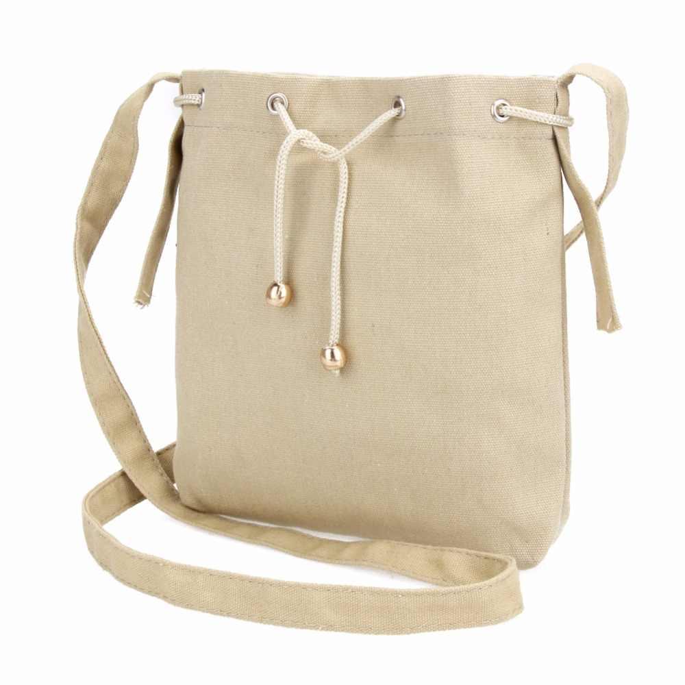 Women Simple Style Mini Canvas Bag Vintage Drawstring Bucket Bag Ladies  Shoulder Bag Messenger Bags Crossbody 7e0c9417ee