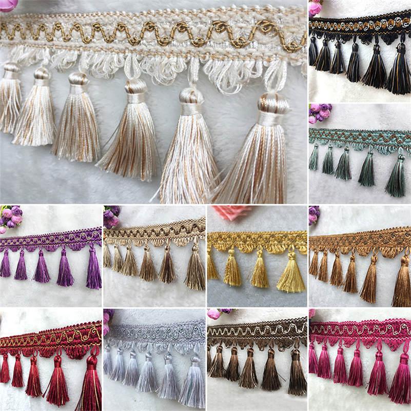 1M Sewing Tassel Fringe Making Household Craft Curtain Fabric Ribbon Upholstery Decorative