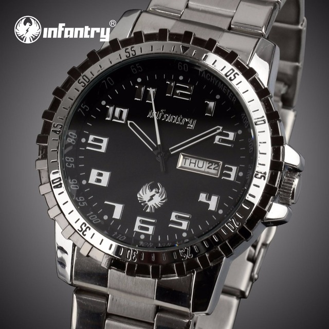 INFANTRY Watches Top Brand Men Business Luxury Quartz Watches Auto Date Casual Full Steel Wristwatches 2017 Relogio Masculino