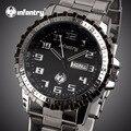 Infantry relógios top marca de luxo homens de negócios relógios de quartzo auto data casual completa aço relógios de pulso 2017 relogio masculino