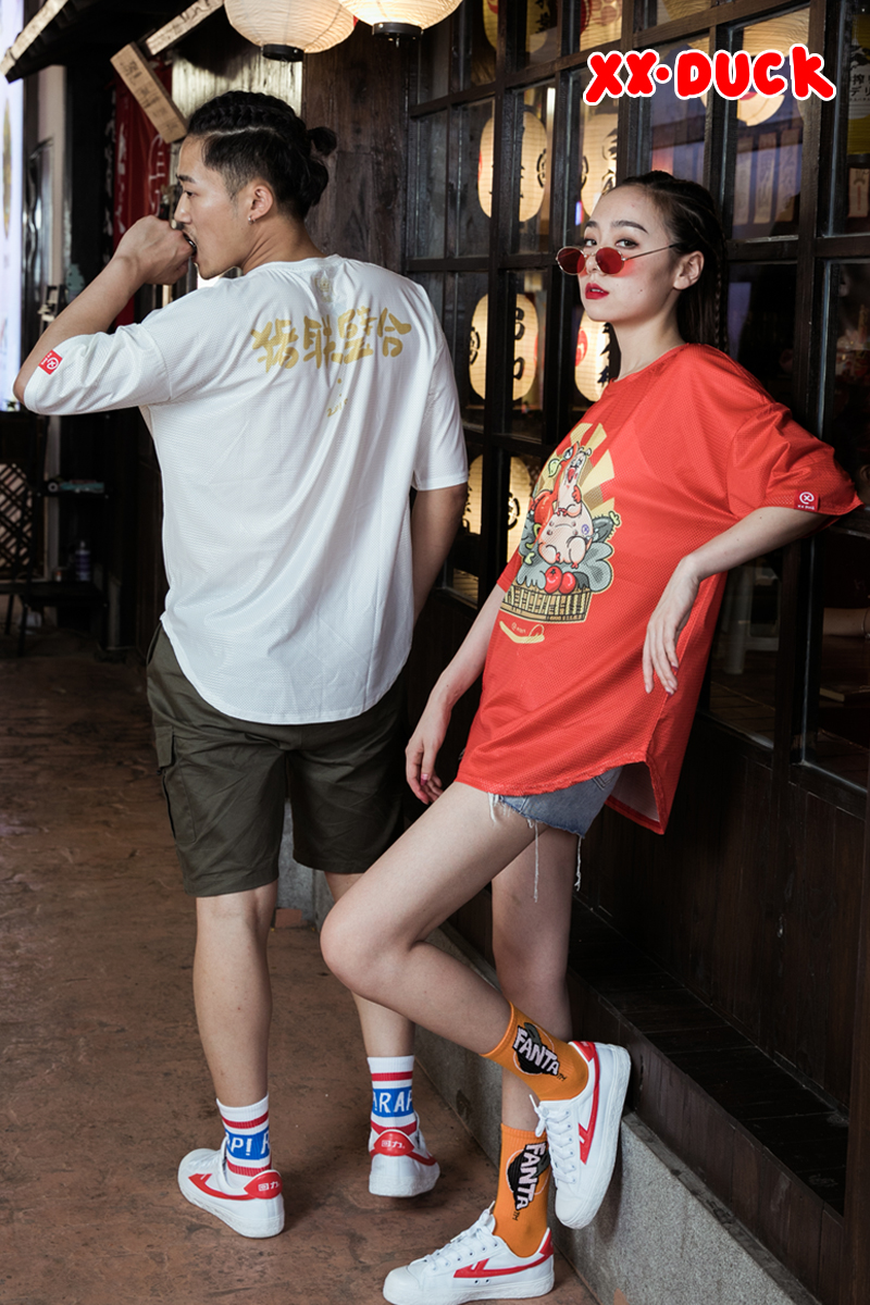 XXDUCK Popular Logo Loose T-shirt Red Versatile Fashion Short Sleeve Cartoon X Duck Breathable Mesh Top New Couple