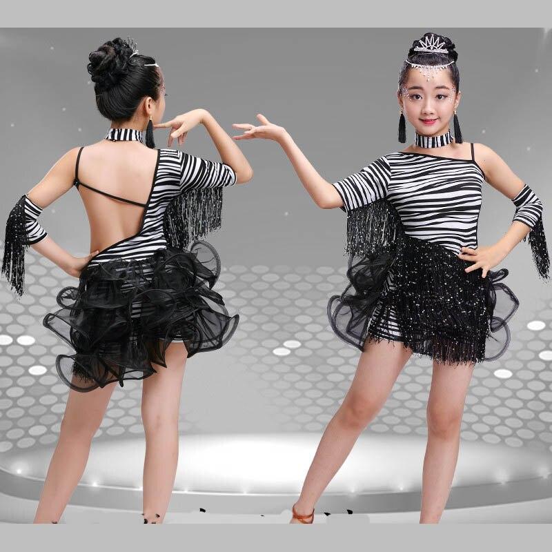 Girl kid zebra style black white Latin dress costume with tassel children dance stage costume clothes