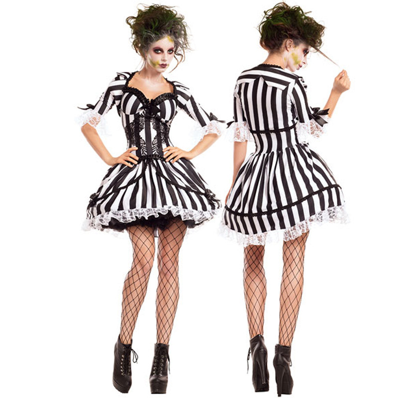 Halloween New Striped Female Ghost Bride Costume Scary Gothic Dress Ghost Festival Vampire Cosplay Halloween Costume Dress Set