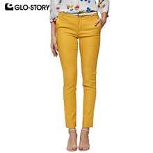 GLO-STORY 2019 Spring Women Solid Straight Pants with Belt Zipper-Fly Work