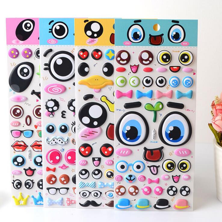 SL-TU Lovely Various Big Eyes 3D Decorative Stickers Adhesive Stickers DIY Decoration Diary Stickers lovely panda animals stickers adhesive stickers diy decoration stickers