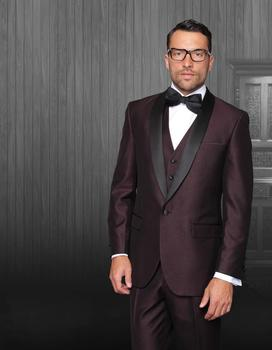 custom made One Button Notched Burgundy groom suits Black Lapel Jacket+Pants+Tie+Vest mens tuxedos for wedding Groomsmen suits