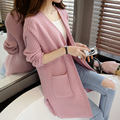 Women Long Cardigan 2016 New Autumn Cashmere Cardigans Casual Loose Solid Knitted Sweaters Slim Knitwear Tops Pull Femme
