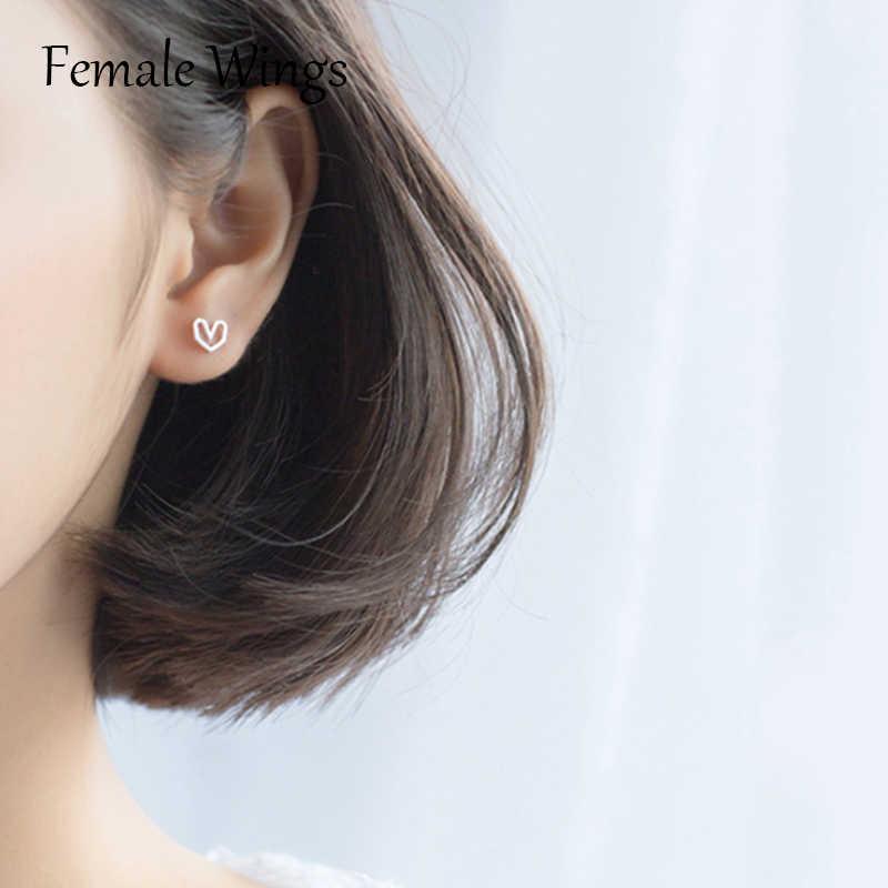 23c6453aa ... Female Wings 925 Sterling Silver Stud Earrings for Women Heart Ear Studs  Earings Silver Bar Studs ...