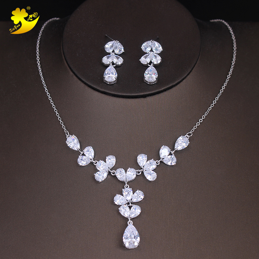 Xinyun Brand New Cubic Zirconia Brides Necklace and Earrings Wedding Jewelry Bridal Zirc ...