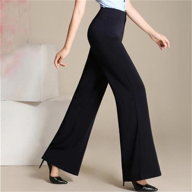 f9a6fc087de High waist women 2019 fashion office work pants plus size wide leg ladies  formal trousers black red female wide leg pants Women