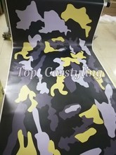 Yellow back gray Jumobo Camouflage Vinyl For Car wrap Camo Car Sticker Film Motorcycle Vehicle Wraps coating 1.52X10M/20M/ 30M