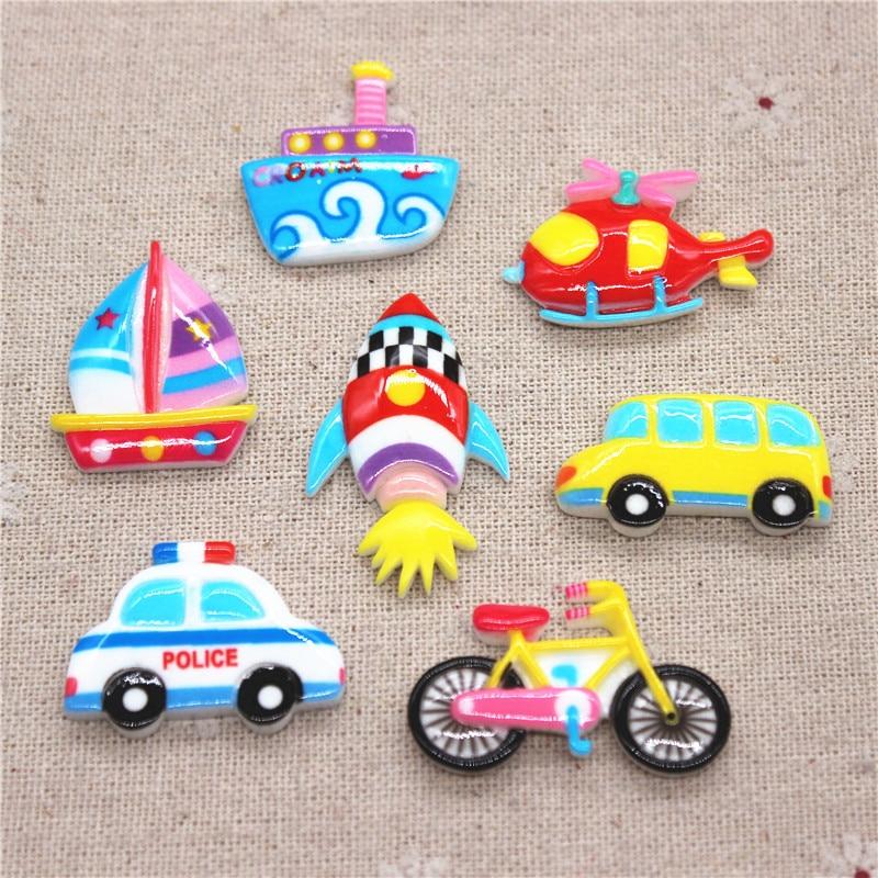 10PCS Mix Style Transportation Resin Car/Boat/Bike/Helicopter/Rocket Miniature Flatback Cabochon DIY Craft Scrapbooking